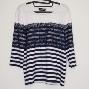 Karl Lagerfeld striped lace and jersey top
